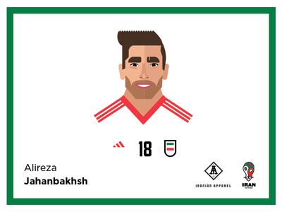 Jahanbakhsh jahanbakhsh iran jersey vector character player football soccer illustration world cup fifa