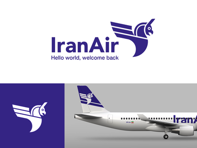 Iran Air flat iran persepolis airplane plane monochrome branding agency sans serif griffin airline iran air redesign branding logo aviation