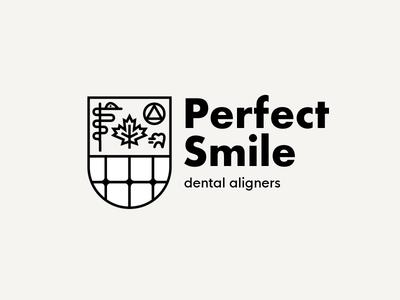 Perfect Smile Dental Aligners canada tooth meidcal branding logo outline crest shield aligner dentist dental