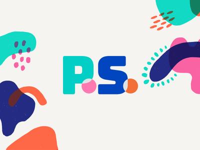p.s. hand drawn organics logo shapes pink orange navy teal wordmark organic colors branding