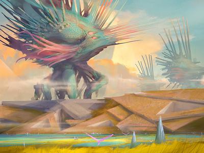 Hedgehog Migration landscape crabcore artistmef wallpaper art fantasy hedgehog design surrealism surreal igor vitkovskiy concept art