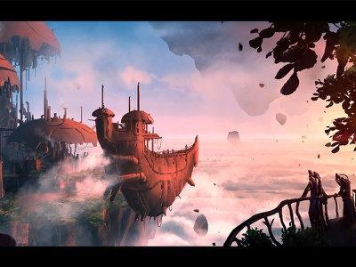 High In The Sky igor vitkovskiy postapocalyptic flying islands sky ship concept art steampunk artwork art