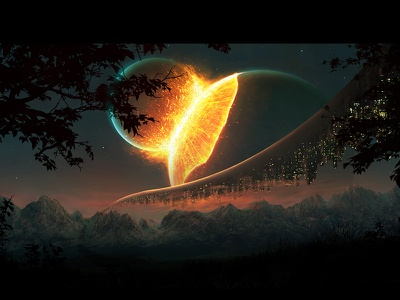 Synergy explosion night planet artistmef wallpaper art fantasy space design surreal igor vitkovskiy concept art