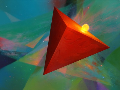 Ignis tetrahedron fire ignis artistmef wallpaper art fantasy space design surreal igor vitkovskiy concept art