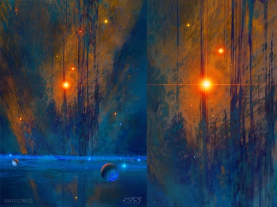 Sea Nebula artistmef igor vitkovskiy flare art illustration sea cosmos star sun artist nebula space