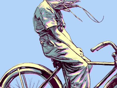 Bi Cycle illustration bicycle shrimp vintage