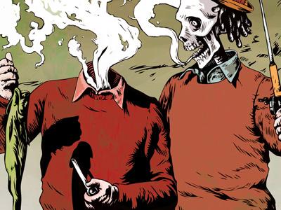 Look Here Buddy  Detail. illustration skeleton smoking fishing vintage