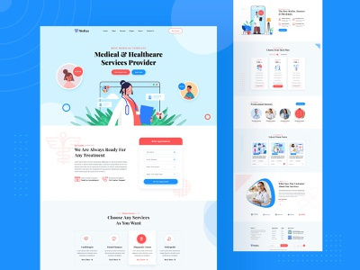 Medical Website Landing Page Design agency landing page web design concept header exploration illustration clean ui web template medical website design medical landing page ui landing page design landing pages landing page website template medical landing page medical app uxdesign ui design website design websites