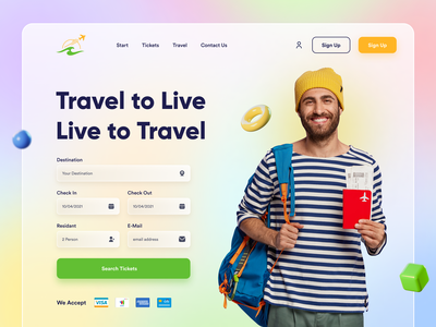Travel Ticket Booking Web UI Exploration landing page landingpage 2021 trend agency landing page colorful ecommerce ticket booking online elearning travel website travel travel app apps screen website concept ui design popular shot website design landing page design header exploration ui
