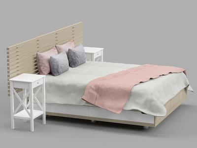 wood bed 3d