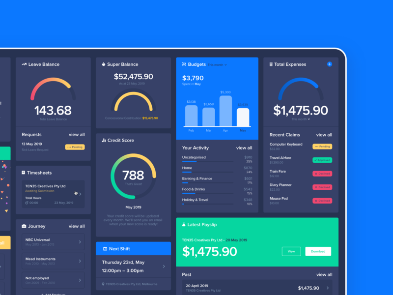 Dark Mode Dashboard website ux ui app web vector minimal flat design branding