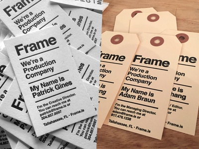 Frame Business Cards business cards cards letterpress tags