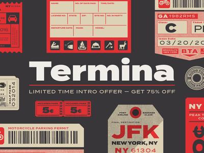 Termina Typeface logotype extended sans type design type
