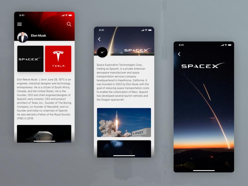 Elon Musk Tribute spacex elon musk ui designer ux designer ui design ux design app design mobile app mobile app design interface uxdesign uidesign ux