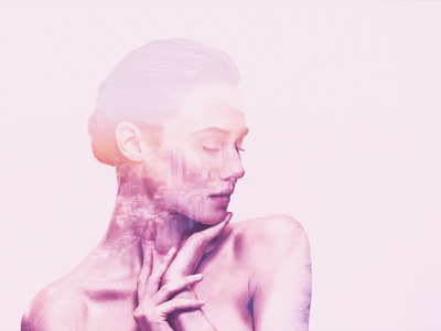 Reflected memories woman shoulders pink photohop person pastel model human hands faded face double exposure closed eyes
