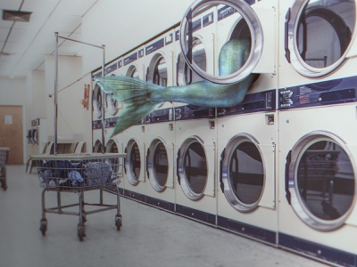 Lavanderie photo-manipulation self-service fish out of water washing surreal laundromat laundry mythology mermaid fantasy art