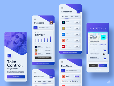 Neumorphic Open Data App gradient clean soft ui finance neobank banking app neumorphism neumorphic app typography ux ux design interface branding visual design design
