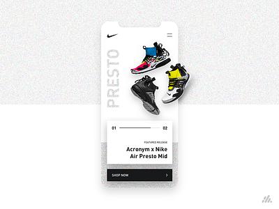 Nike Presto Mid App UI/UX hypebeast sneaker presto nike shoes interface website ux app typography visual design ux design branding ui design