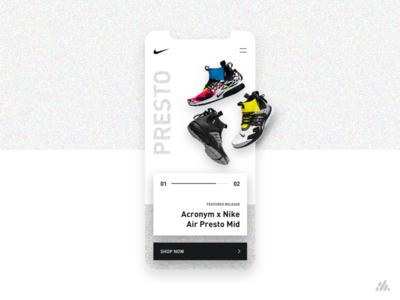 Nike Presto Mid App UI/UX