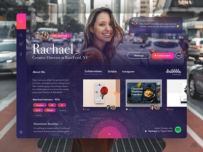 Collabordate - The new way to meet creatives - App UX/UI photography tinder dating web typography website desktop app ux visual design ux design interface branding ui design