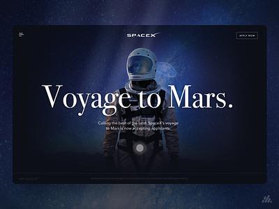 SpaceX - Mars Voyage UX/UI science-fiction typography web website app desktop ux visual design ux design interface branding ui design
