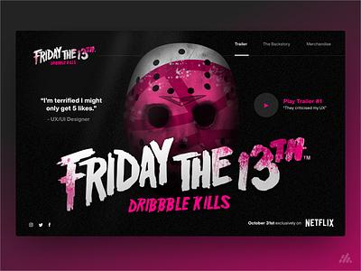 Friday the 13th - Dribbble Kills halloween scary web typography website desktop branding ux design ui interface visual design design
