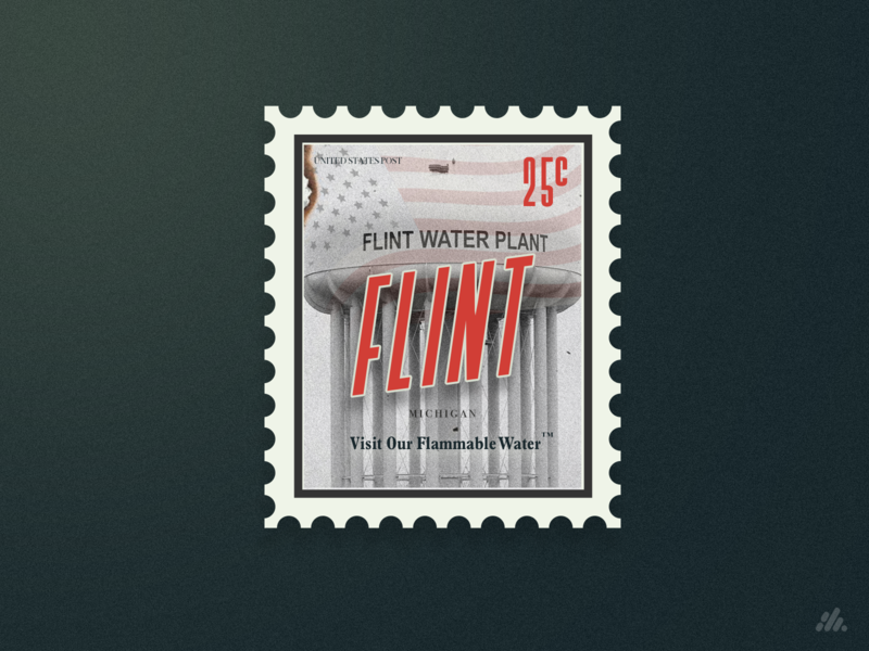 Visit Flint Michigan Stamp typography america politics satire political poster art poster photoshop stamp vector illustration branding visual design design