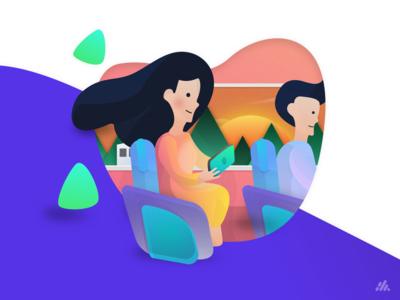 Netflix & Chill on Train Illustration
