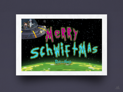 Merry Schwiftmas! cartoon christmas card holiday card rickandmorty warmup card vector illustration typography branding visual design design