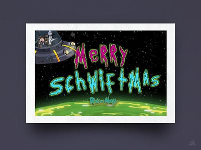 Merry Schwiftmas! cartoon christmas card holiday card rickandmorty warmup card vector illustration typography branding visual design design