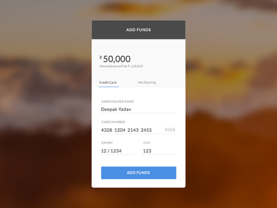 Add funds with credit card - Download template add funds credit card template download checkout money 002 dailyui