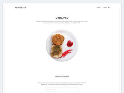 Landing Page promotion dish food restaurant dailyui minimal page landing