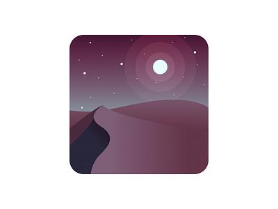 App Icon sand dunes dailyui stars sky skyline desert moon icon app