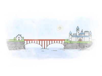 Illustration for Mutual Funds platform investing trading land house castle ocean sea bridge illustration