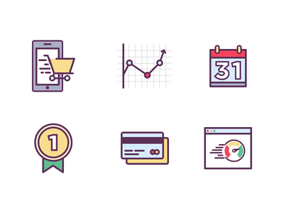 Icon set ecommerce finance charts browser speed money credit card calendar mobile cart