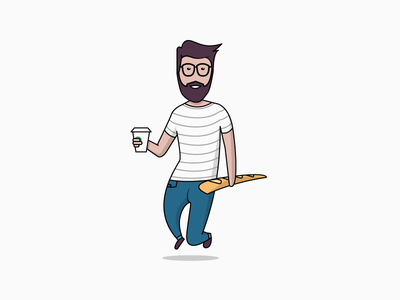 Man with Baguette & Coffee shadow flat elevated boy man hipster jeans coffee baguette france