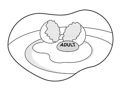 Adult dots halftone yolk broken breakfast eggs black work illustration adult