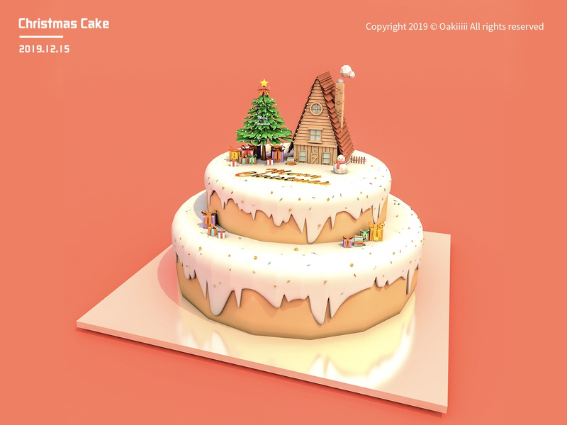 Christmas cake 插画 illustration design c4d