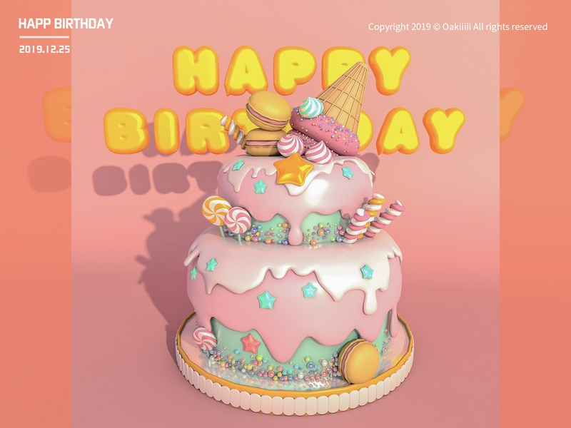 happy birthday 练习 designs c4d illustration
