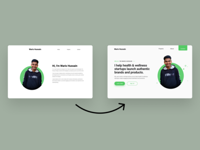 Redesigned Waris Hussain's Portfolio Website minimalism minimalist minimal whitespace white green portfolio design portfolio site portfolio ui webdesign website design web design website web brand design