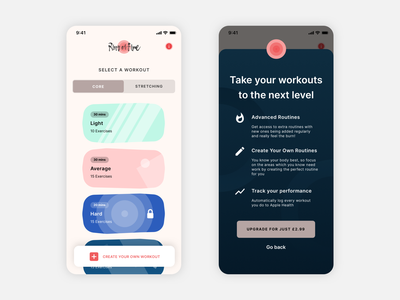 Workouts App exercise health minimal app ux ui design