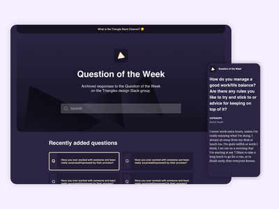 Question of the Week mobile responsive minimal questions ui website faq design