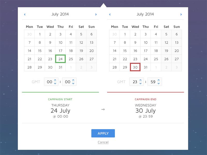 Date Picker date time calendar picker tooltip ui flat interface web app month year