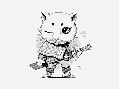 Berserk - White Team design warrior concept art graphic arts creative graphicdesign development 2d illustration art cat