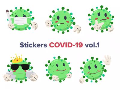COVID-19 Animated Stickers lottie vector virus quarantine motion art design motion design coronavirus ae 2d animation 2d stickers video covid19 animation covid-19