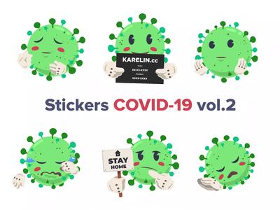 COVID-19 Animated Stickers vol.2 telegram stickers virus quarantine coronavirus covid 19 motion art design motion design ae 2d animation gif video animation