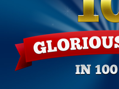 Glorious glorious tag ribbon red blue gold chunk five font logo typography