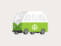 Hippy Van icon fun illustration doodle car sign peace vector vehicle 2d minimal bold flat