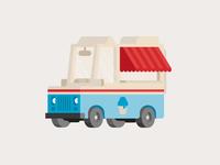Ice Cream Truck vector icon fun 2d doodle flat illustration simple bold van vehicle car truck logo ice