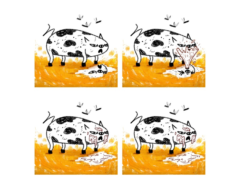 Pig love of self comic pig illustration